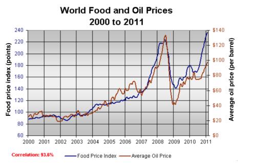 2018最新雅思Task1写作满分范文 线图之食物石油价格图1
